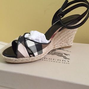 Burberry Black Patent Leather Wedge Sandals